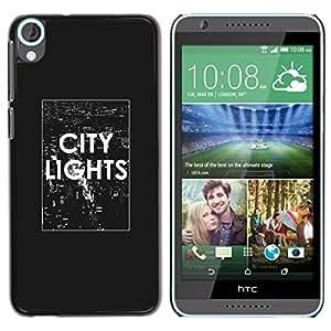 YOYOYO Smartphone Protección Defender Duro Negro Funda Imagen Diseño Carcasa Tapa Case Skin Cover Para HTC Desire 820 - texto luces de la ciudad el cartel blanco negro NYC