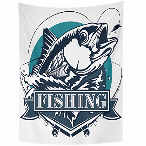 Ahawoso Tapestry Wall Hanging 50x60 Inches Lure Fisherman Red Snapper Rods Ocean Waves Fishing Marine Fish Parks Bass Redfish Tuna Water White Home Decor Tapestries Art for Living Room Bedroom Dorm