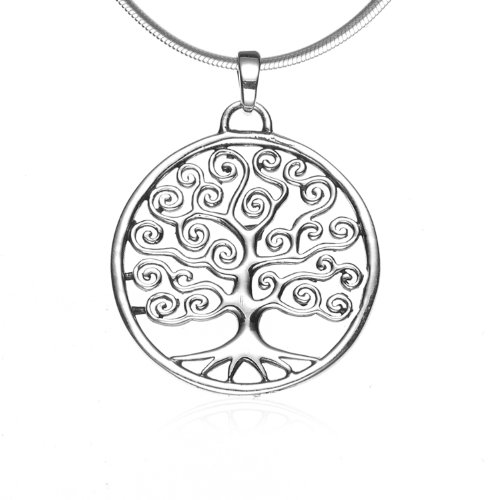 Chuvora 925 Sterling Silver Filigree Tree of Life Round Swirl Pendant Necklace, 18 inches - Nickel Free
