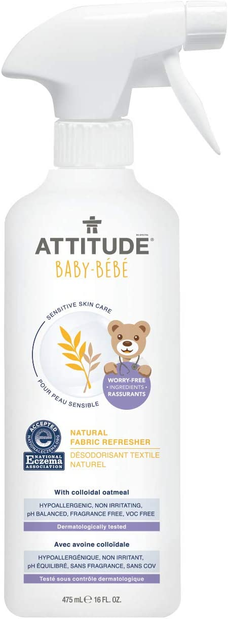ATTITUDE Sensitive Skin, Hypoallergenic Baby Fabric Refresher, Fragrance Free, 16 Fluid Ounce