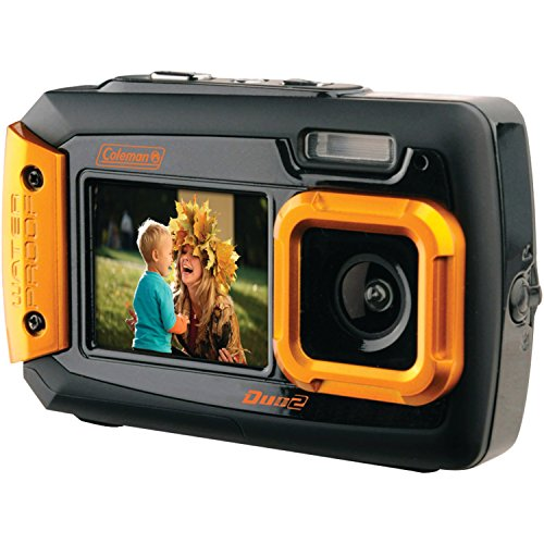 Coleman Memory - Coleman Duo2 2V9WP-O 20 MP Waterproof Digital Camera with Dual LCD Screen (Orange)