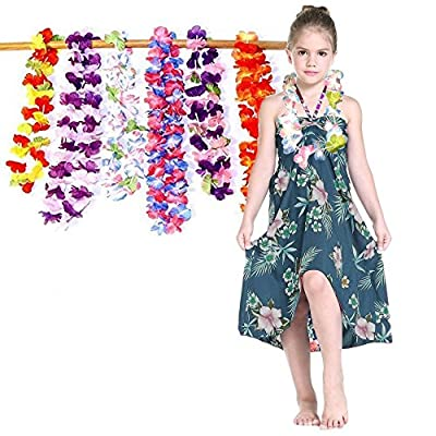 Dazzling Toys Ruffle Hawaiian Flower Leis - Silk 24 Pack - 2 Dozen Assorted Flower Necklace Luau Party Supplies for Holiday Events | Bat Mitzvah | Birthday | Graduation | Family Vacations: Toys & Games