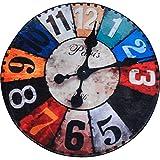 QEQEQE Creative Retro Clock Round Carpet - Bedroom Living Room Bedroom Leisure Area Rug Staircase Hanging Baskets Anti-slip Rug Study Swivel Chair Foot/Floor Mats (Color : B, Size : Diameter60cm)