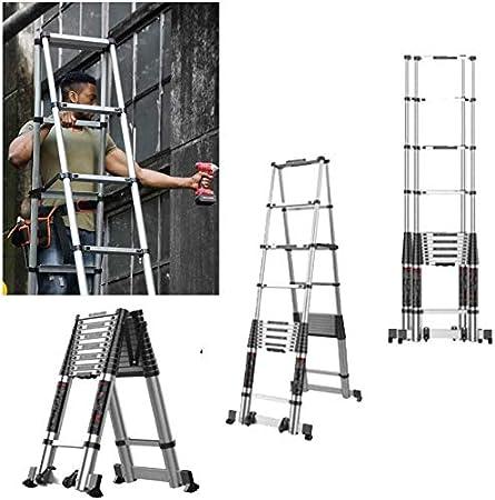 HL-TD Escaleras extensibles Extensión Telescópica De Aluminio Plegable Escalera Escaleras Telescópicas Rectos Con El Rodillo Y Barra De Equilibrio 150 Kg Capacidad / 330lb, 3,9 + 3,9-multi-functionLad: Amazon.es: Hogar