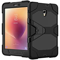For Samsung Galaxy Tab A 8.0 Case 2017 Release for T380/T385,Shockproof Rubber TPU Hard Armor Protective Built-in Protective Film Heavy Duty Rugged Stand Cover Case