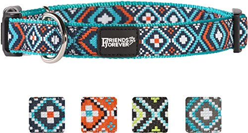 (Friends Forever Dog Collar for Dogs - Fashion Woven Square Pattern Cute Puppy Collar, Blue Large 18-26
