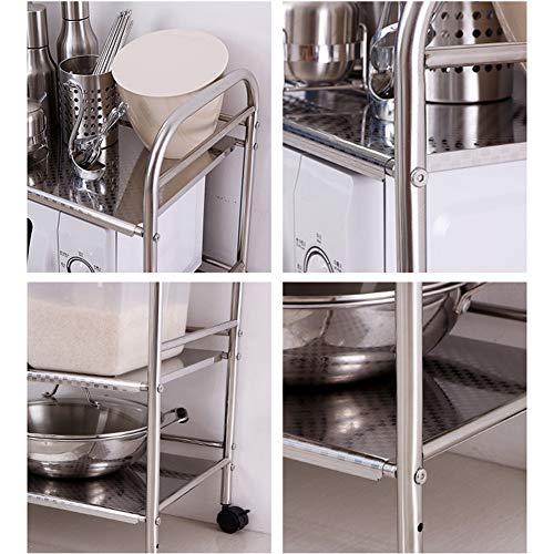 Shelf Storage Racks Cupboard Organizers Kitchen Landing Stainless Steel Four Floors Microwave Oven Rack It Can Move Wheeled Storage Rack 6034100.5cm ZHAOYONGLI by ZHAOYONGLI-shounajia (Image #4)