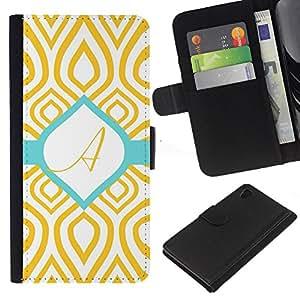 Un modelo del trullo del oro verde inicial- la tarjeta de Crédito Slots PU Funda de cuero Monedero caso cubierta de piel Para Sony Xperia Z3 Plus / Z3+ / Sony E6553 (Not Z3)