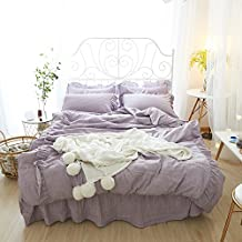 LELVA Solid Color Duvet Cover Set Teen Girls Bedding 4 Piece Ruffle Design Cotton Lace Bedding (Queen, I)