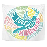 TOMPOP Tapestry Lettering Dove of Peace with Values Words Love Faith Joy Hope Kindness Unity Beauty Respect Trust Justice Home Decor Wall Hanging for Living Room Bedroom Dorm 50x60 Inches