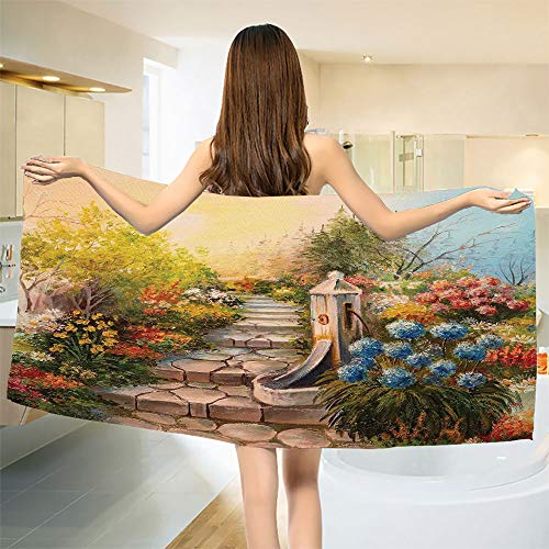 (smallbeefly Flower Bath Towel Opium Poppy Field and Beautiful Yard Sunset Over The Ocean Under The Clouds Picture Customized Bath Towels Multicolor Size: W 19.5