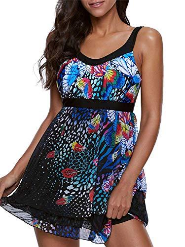 ReachMe Womens 2 Piece Swimsuits Tankini Top Set with Boy Shorts Slimming Swimdress Swimwear(4 Blue,2XL)