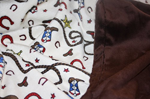 Minky Blanket - Baby Blanket, Toddler Blanket, Child Blanket - Cream Rodeo, Western, Cowboy Print Minky with Chocolate Brown Smooth Minky