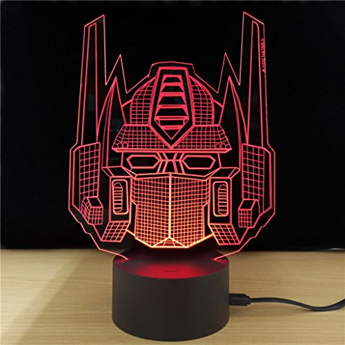 King's Bridal Transformer 3D Led Light Optimus Prime Helmet 3d Illusion Lamp Night/Safety Light 7 Color LED Lamp Deco Light For Kid's Bedroom