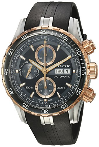 Edox Men's 'Grand Ocean' Swiss Automatic Stainless Steel and Rubber Diving Watch, Color:Black (Model: 01123 357RCA NBUR)
