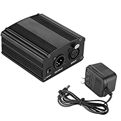 Floureon 1- Channel 48v Phantom Power Supply With Adapter For Condenser Microphone Music Recording Equipment (Black)