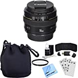Canon EF 50mm f/1.4 USM Telephoto Lens w/ Accessory Bundle includes Lens, Lens Pouch, 58mm UV Filter, Memory Card Wallet, Card Reader, Screen Protectors Cleaning Kit and Beach Camera Microfiber Cloth