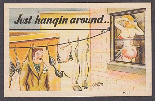 Just hangin around voyeur on clothesline cheesecake comic postcard 1940s from The Jumping Frog