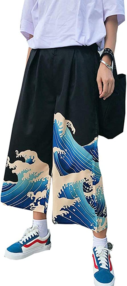Wide Leg Cropped Pants for Women Casual Loose Thin Japanese Harajuku Wave Print Drawstring High Waisted Trouser