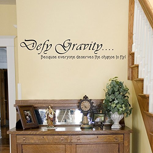 Wall Decal Decor Wicked the Musical Wall Decal Elphaba Vinyl Art Sticker Defy Gravity Wall Saying(Black, 4'h x22'w)