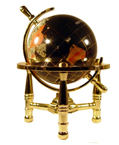 Unique Art 6-Inch by Black Onyx Ocean Mini Table Top Gemstone World Globe with Gold Tripod