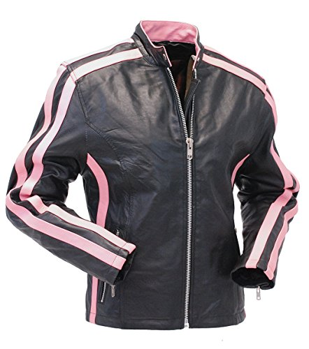 Jamin' Leather Pink Striped Leather Jacket - Scooter (XL) #L2565SZP