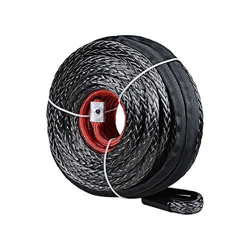 Synthetic Winch Line Cable Rope 92ft X 1/2 Inch 22000LBS w/ Protective Sleeve for SUV ATV UTV Jeep Truck Boat Ramsey (without Hook)