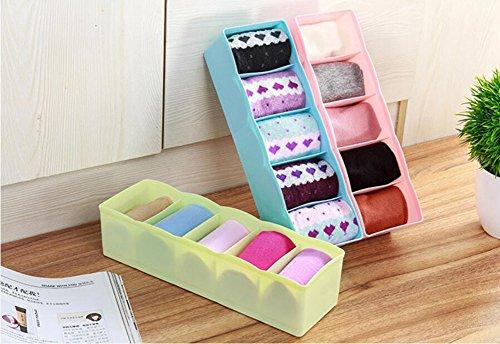 Hosaire Storage Box Multi-function Five Grid Plastic Underwear Sock Ties Separator Organizer Case Desk Drawer Closet Organizer ,Set of 3 Color by Hosaire (Image #2)
