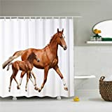 starlight-Bracele Brown horse and her baby horse pattern, white background.Mildew proof, waterproof, polyester%% machine washable, environmentally friendly,