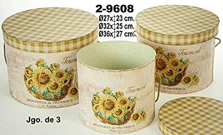 DONREGALOWEB Set de 3 Cajas Decorativas de Carton Decoradas con Girasoles: Amazon.es: Hogar