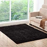 Lee D.Martin Indoor Area Rugs Living Room Bedroom Rectangle Ultra Soft Carpets Modern Shaggy Children Rugs Anti-Slip Backed Home Décor Rug,3.94'x5.25',Black