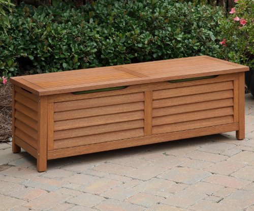 outdoor wood storage bench - 1