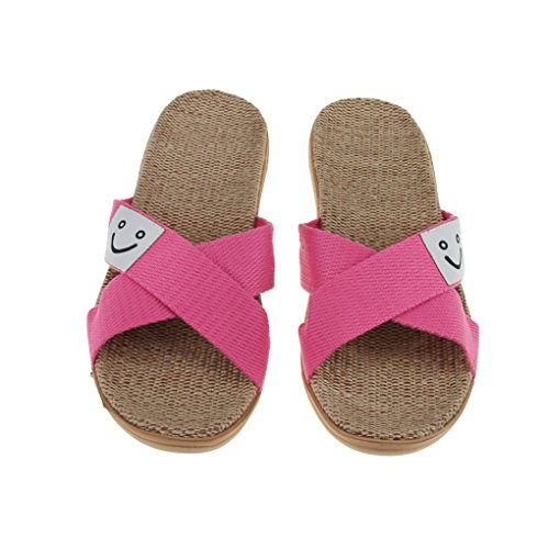 Lightweight Smile Flops Slide Slippers Bath Flip Shoes Fashion House Flat Sandals Summer Slip Mules on Spa Linen Unisex Antiskid Womens Cozy Slippers Toe Indoor Bedroom Mens Open Footwear Rose Red Face Flax Scuff Home awWPTAaB