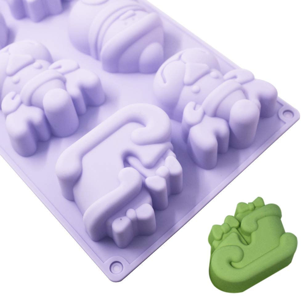 Candies,Chocolates,Jelly,Soap,with Shape of Christmas Tree,Snowman,Elk,Sleigh-Green,Blue,Purple 3 Pack Silicone Christmas Molds,YuCool Non-Stick Baking Trays for Party Gift,Holiday Cakes