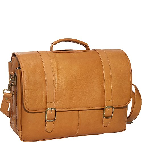 David King & Co Leather Porthole Laptop Briefcase in Tan
