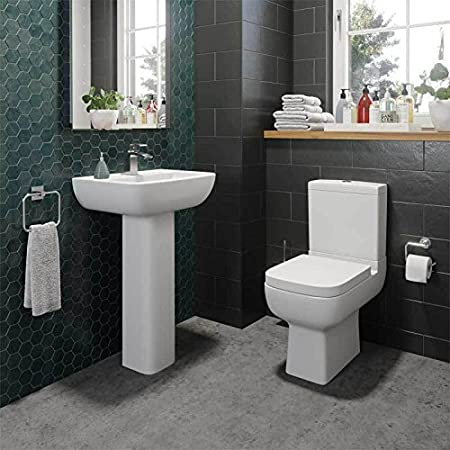 Modern Toilet Close Coupled Pan WC Soft Close Seat Short Projection Bathroom Cloakroom Ceramic White Gloss