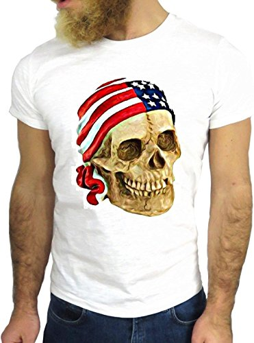T SHIRT JODE z3349 SKULL AMERICAN USA FLAG PRIRATES COOL VINTAGE ROCK NICE GGG24 BIANCA - WHITE S