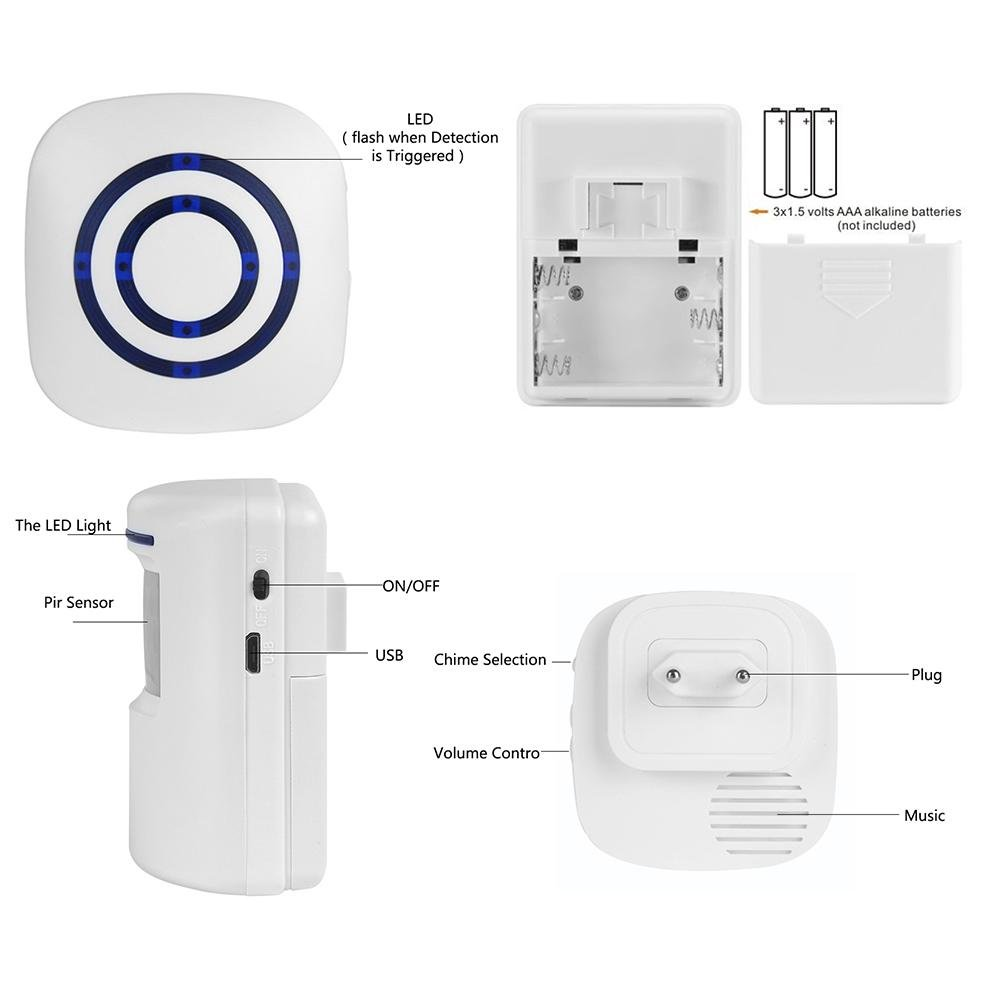 LED Indikatoren Wireless Home Security Auffahrt Alarmanlage 1 Empfä nger und 1 PIR Bewegungssensor Detektor Infrarot Alarmanlage Kit-38 Chime Tunes KOBWA Bewegungssensor Alarm