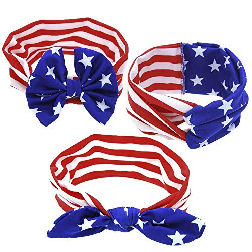 ADSRO American Flag Headband, July 4th US Headscarf Patriotic Prop Party Promotional Items Independence Day Decoration Accessories Dress Up 3Pack