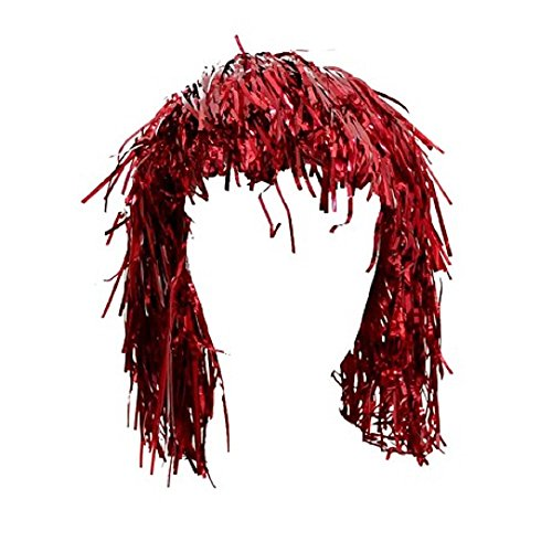 Mardi Gras Tinsel Wig (Rhode Island Novelty Red Tinsel Wig)