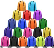 25pcs Multicolor Drawstring Backpack, Polyester Drawstring Backpack for DIY, Sport Sack String for Travel, Exe