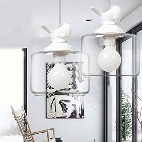 LED Pendant Lights Fixture The Nordic Creative Birdcage Chandeliers Minimalist Modern Restaurant Cafe Shops Studio Lounge Personality Chandelier Diameter 9.5cm, 110V-240V (White)
