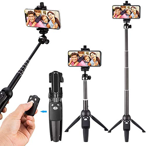 Xelparuc Remote Bluetooth Selfie Stick Tripod, 39-Inch Extendable Rod Selfie Stick with Wireless Remote and Tripod Stand for iPhone 8/iPhone 8 Plus/X/iPhone 7/iPhone 7 Plus/Galaxy Note 8/S8 & More