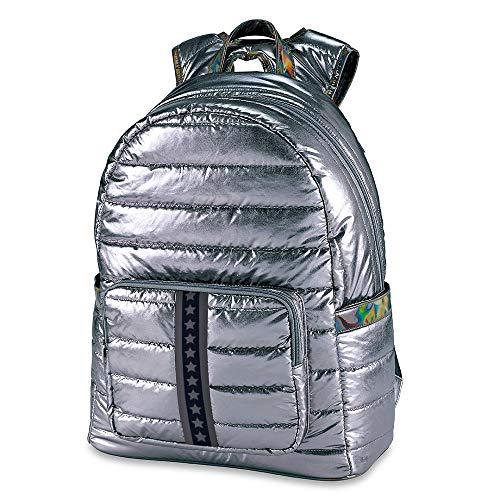 Top Trenz Inc 2 Zipper Puffer Material Backpack (Puffer Gun Metal Black Star)