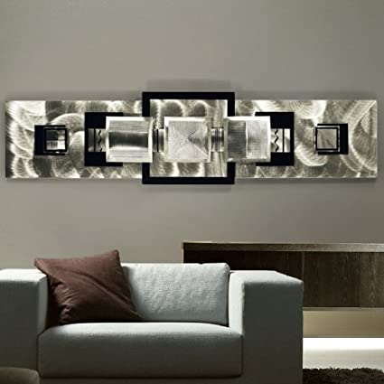 Large modern hand made all natural silver metal wall sculpture contemporary abstract home office
