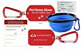 Pet Dog ID Tag and Emergency Wallet Card with Laminating Pouch and Collapsible Travel Bowl (Combo Pack)