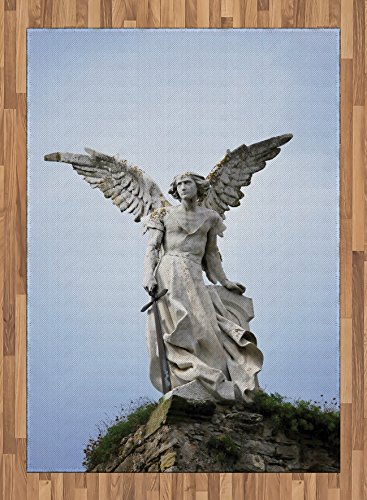 Sculptures Area Rug by Lunarable, Sculpture of Guardian Angel with Sword in Cemetery of Comillas Spain, Flat Woven Accent Rug for Living Room Bedroom Dining Room, 5.2 x 7.5 FT, Pale Blue Coconut by Lunarable