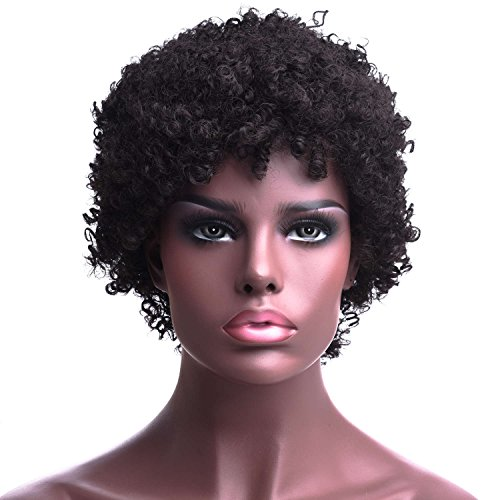 Silike Afro Kinky Short Wig for Women 2 Hairstyles Can Be Made Halloween Cosplay Wig(5881B #2)