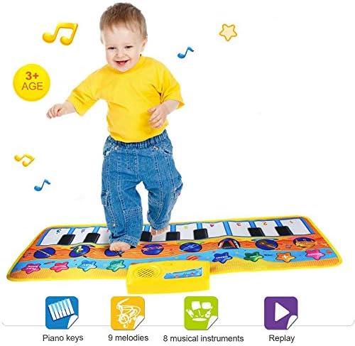 ピアノマットは、キッズ、8インスツルメンツ、多機能タッチピアノの鍵盤プレイカーペット、ミュージカルブランケットおもちゃのためにマットを踊ります