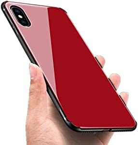 Luhuanx Case Compatible with iPhone Xs Max, Tempered Glass Case Back + TPU Frame Hybrid Shell Slim Case for iPhone Xs Max in 6.5 inch,Anti-Scratch (Drop) 2018 case (Red New)